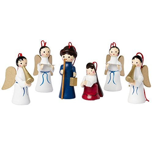 BRUBAKER 6 Handpainted Wooden Christmas Tree Ornaments Decoration - Mary, Joseph and Angels Nativity Set - Designed in Germany