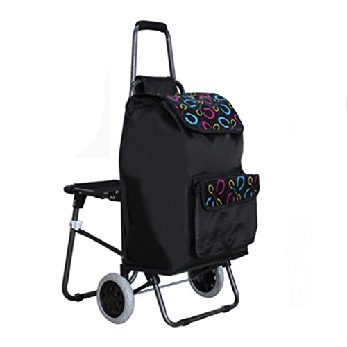 Shopping cart - large heavy truck, folding portable seat - luggage cart , rounds: black bottom c (send stretch rope) by moxin (Image #6)