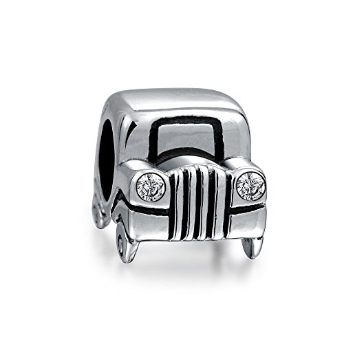 Bling Jewelry Sterling Silver Jeep Car Bead CZ Headlights (Sterling Silver Car Charm)