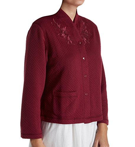 Miss Elaine Quilt-In-Knit Bed Jacket (806907) M/Cranberry (Knit Bed Jacket)