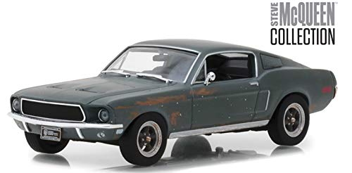 1968 Ford Mustang GT Fastback Green Unrestored Steve McQueen Collection (1930-1980) 2018 Detroit Auto Show 1/43 Diecast Model Car by Greenlight 86437