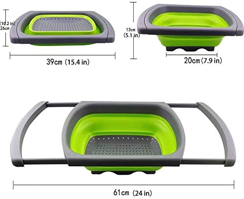 DIAZ Faltbare Obst Gemüsesieb Abfluss Wasserfilter Korb Waschkorb Silikon Faltbares Sieb Mit Griff Küche