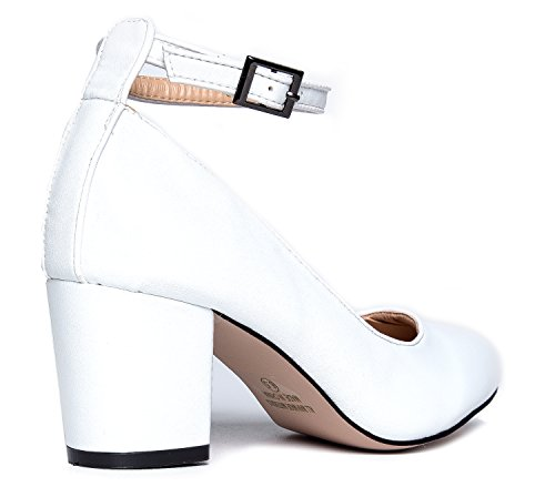 Pump Ankle J White Round Block Toe Heel Adams Shoe Pu Dress Strap Comfortable Darling Cqq5RtZ
