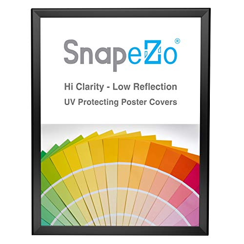 SnapeZo Poster Frame 16x20 Inches, Black 1.25 Inch Aluminum Profile, Front-Loading Snap Frame, Wall Mounting, Professional Series