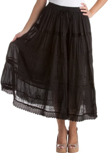 Cotton Embroidered Skirt (AA554M - Solid Embroidered Gypsy / Bohemian Mid Length Cotton Skirt - Black/One Size)