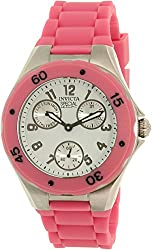 Invicta Angel Multi-Function White Sunray Dial Pink Silicone Ladies Watch 18791