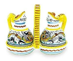 Arte D'Italia Imports Hand Painted Raffaellesco Oil and Vinegar Set - Handmade in Deruta