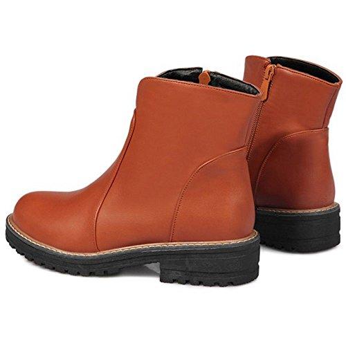 Boots Fashion Women Block Low Brown Heel COOLCEPT Ankle Chelsea xI5FTq1