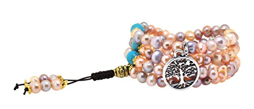 (Pink and Purple Dyed Freshwater Cultured Pearls Yoga Meditation 108 Prayer Beads Mala Wrap Bracelet or Necklace (Silver Tone Tree of Life))