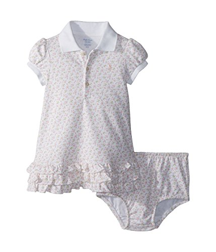 RALPH LAUREN Baby Girl Floral Polo Dress & Bloomer Set Pink Multi (3 ()