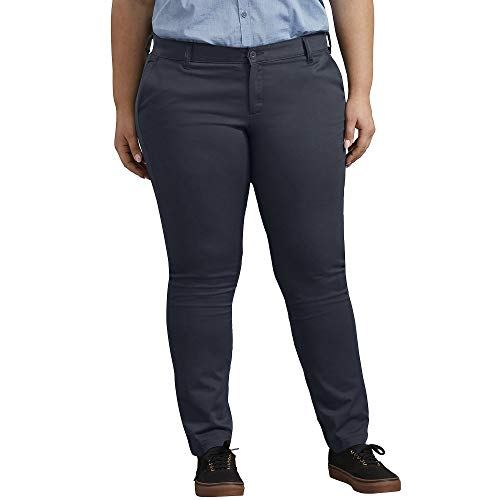 Dickies Women's Plus Size Mid-Rise, Skinny Stretch Twill Pant, Rinsed Dark Navy, 18W