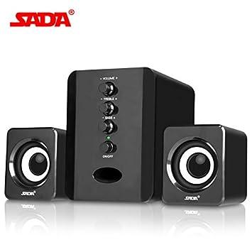 Black SADA D-202 Mini USB 2.1 Wired Combination Speaker Bass Music Subwoofer for Desktop Laptop Notebook Tablet PC Smart Phone