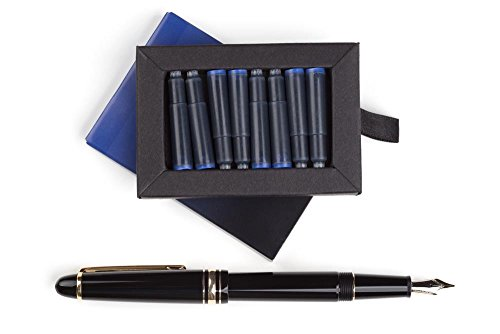 Dryden Fountain Pen Ink Cartridges ✮ SET OF 24: 12 BLACK & 12 BLUE ✮ Short International Standard Size ✮ Disposable and Generic Ink Refill Cartridges ✮ Perfect for Calligraphy by Dryden Designs (Image #6)