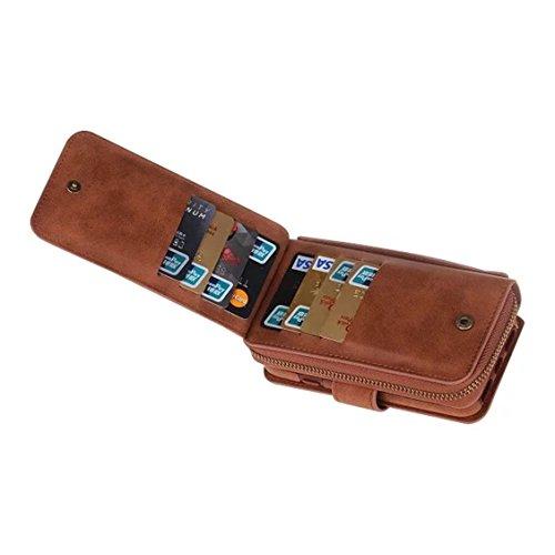 Czj-Innovation Cubierta de caja de la carpeta del teléfono Desmontable correa de cuero del monedero de la cremallera magnética para iphone 7/ iphone 7 Plus (iPhone7 Plus, Rosado) Marr¨®n