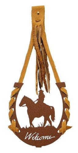 (Female Horse Back Rider Horseshoe Welcome (Rust) with Buffalo Hide)