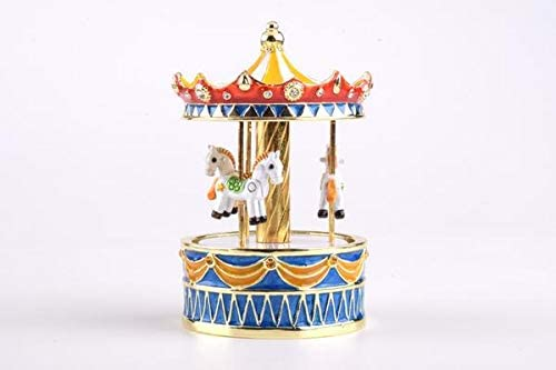 Keren Kopal Colorful Wind up Musical Carousel with White Horses Music Box Faberge Style for Collectors