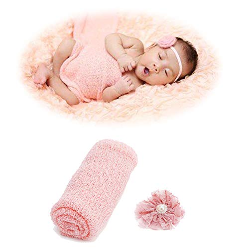 Newborn Baby Photography Props - Long Ripple Wrap Blanket and Lace Beads Headband (Pink)