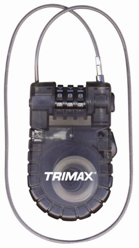 Trimax T33RC Retractable Cable 3-Digit Combo Lock (90cm x 2.4mm)