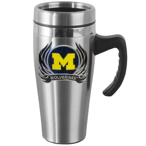 NCAA Michigan Wolverines Steel Flame Style Logo Travel Mug with (Flame Logo Mug)