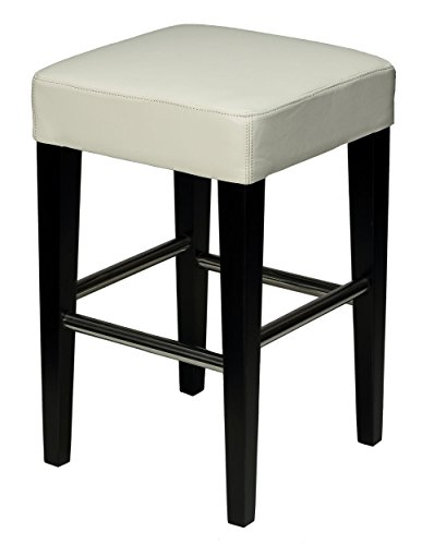 Cortesi Home Aspen White Counter Stool in Genuine Leather with Black Legs Review