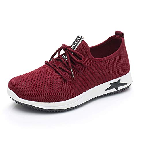 2019 Women's Fashion Casual Lace Up Sneaker, Mesh Breathable Sport Shoes Running Shoes - Comfort Walking (Red, Size:40=US:7.5) ()