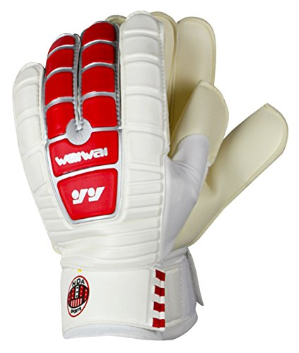 Waiwai Goalkeeper Gloves Football Receiver Gloves for Soccer Match Training Size L White & Red ()