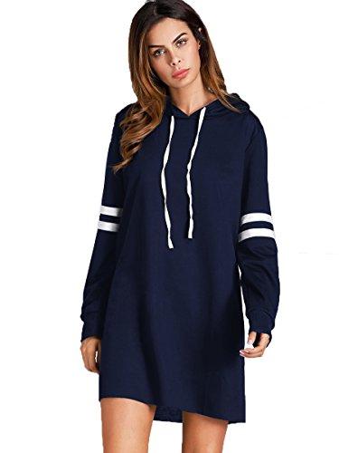 SweatyRocks Women's Striped Long Sleeve Casual Pullover Hoodie Sweatshirt Dress Navy S