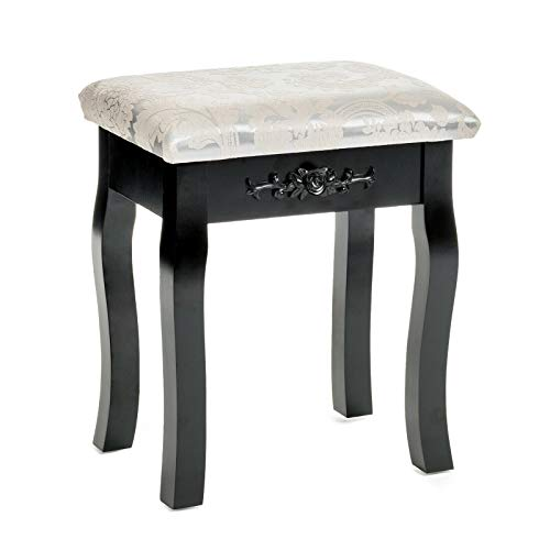 - New Modern Stylish Floral Design Dressing Vanity Stool Makeup Pad Cushioned Chair Piano Seat Black Home Bedroom Furniture Seating Pine Wood MDF
