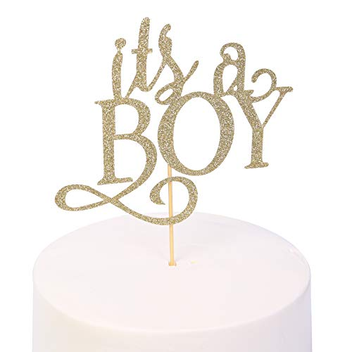 Gender Reveal Cake Topper - Glitter Cake Decorating Supplies, Gender Reveal Party Supplies For Photo Booth Props, Baby Shower Favors For The Gold Cake Topper(it's a boy) (it's a boy -