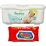 Pampers Sensitive Wipes Tub (64 ct) Bundle with Mimitos Baby Wipes (20 ct)