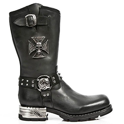 NEWROCK New Rock Newrock Mens Black Leather Skull Metallic Biker Boots - M.MR030-S1