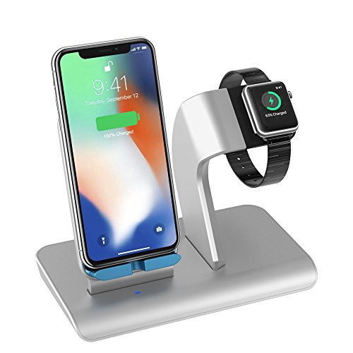 X DODD Replacement for Apple Watch Charging Dock,&Wireless iPhone Charging Stand for iPhone X 8 8 Plus Samsung S9/S9+/S8/S8+/S7/Note 8,iWatch Charger Station Holder for iPhone iWatch Series 1/2/3