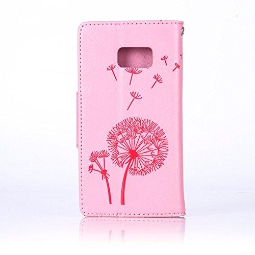 Custodia Galaxy S7 ISAKEN Cover Samsung Galaxy S7 con Strap, Elegante borsa Dente di leone Design in Pelle Sintetica Ecopelle PU Case Cover Protettiva Flip Portafoglio Case Cover Protezione Caso con S Dente di leone : rosa