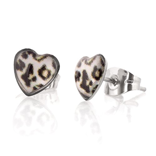 Fun Heart Shape Stud Bling Earrings for Women and Girls (White Leopard) - Leopard Heart Crystal