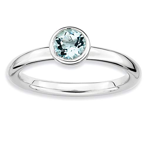 Sterling Silver Rhodium-plated Low 5mm Round Aquamarine Ring Band Size 5-10 by Stackable Expressions