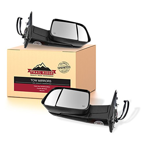 - Trail Ridge Tow Mirror Power Fold Heated Signal Memory Puddle Black Pair for Ram