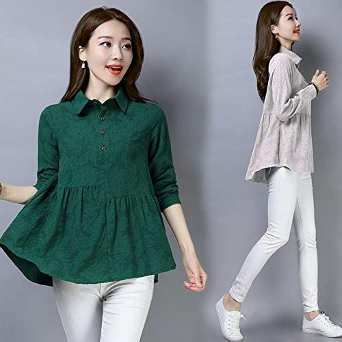 2020 spring new Korean loose large size women's long-sleeved cotton jacquard shirt bottoming shirt Wawa Shan brand:QWERTY (Color : White, Size : 3XL)
