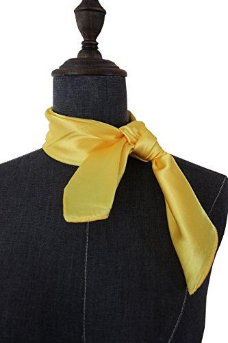 (Silk square scarf pure color head scarf blend neckerchief (Yellow))