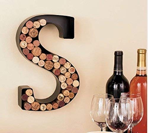 (Monogram Letter S Wall Wine Cork Holder in Black Metal)