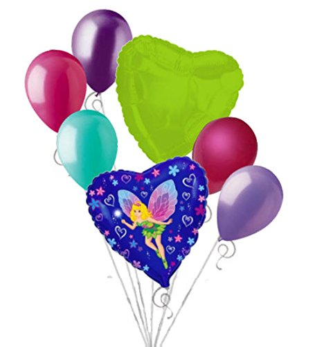 - 7 pc Fancy Fairy Balloon Bouquet Party Decoration Birthday Tinkerbell Inspired