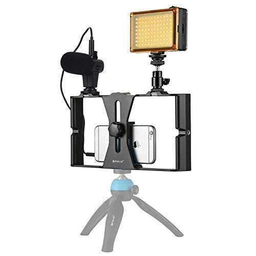 Smartphone Rig Stabilizer for Video Recording Vlogging + Microphone + LED Light - Easy Vlogging for iPhone, 6, 6s, X, XS, XS Max, Samsung Galaxy, Note, Google Pixel & More