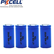 4 Pack 3.7V CR123A 18650 Rechargeable Li-ion Camera Photo Flat Top Batteries