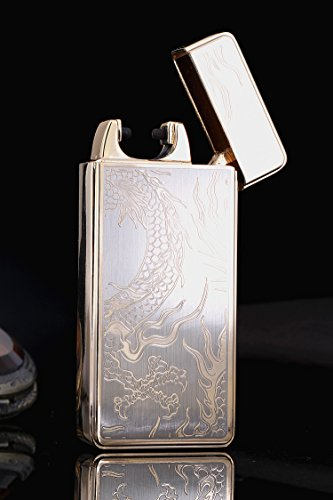 (SHINYSIBLINGS Electrical Arc Lighter USB Rechargeable Windproof Flameless Lighter(Gold Dragon))