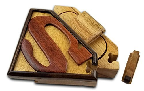 - Oberstuff Superman All Natural Exotic Woods Puzzle Box, 5.5 x 4 x 2.5 with Sliding Wooden Key Lock, Sliding Cover and Inner Lid to Hidden Compartment. Hand-Made Wood Onlay Design on Lid.