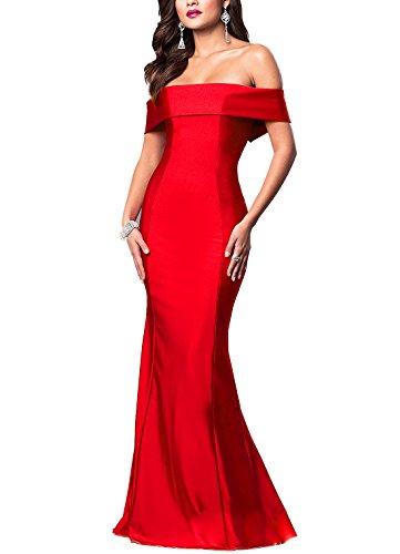Drehouse Femmes Hors De L'épaule Sirène Longue Robes De Bal Robes De Fête De Mariage 2018 Rouge