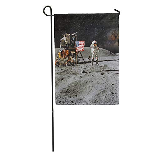 Semtomn Garden Flag Astronaut on Lunar Moon Landing Mission of This Furnished Home Yard House Decor Barnner Outdoor Stand 12x18 Inches Flag