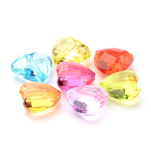 (Craftdady 20Pcs Transparent Random Mixed Colors Acrylic Faceted Love Heart Spacer Beads 16x18mm Pastel Candy Color Small Plastic Loose Beads with 2mm Hole for DIY Jewelry)
