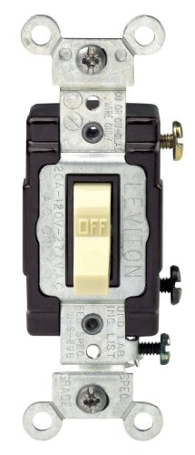 (Leviton CS120-2I 20-Amp, 120/277-Volt, Toggle Single-Pole AC Quiet Switch, Commercial Grade, Grounding, Ivory)