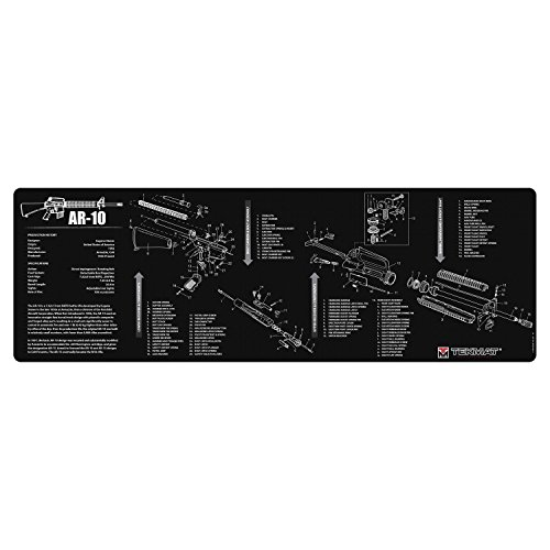TekMat AR-10 Cleaning Mat / 12 x 36 Thick, Durable, Waterproof / Long Gun Cleaning Mat with Parts Diagram and Instructions / Armorers Bench Mat / Black