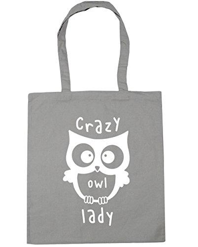 HippoWarehouse Crazy Owl Lady Tote Shopping Gym Beach Bag 42cm x38cm, 10 litres Light Grey